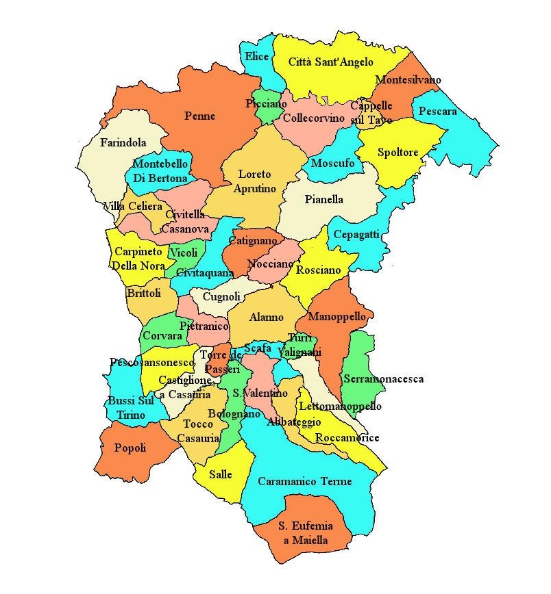 Pescara Cartina.Cartina Provincia Pescara